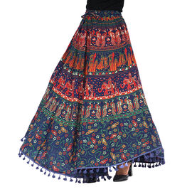 100% Cotton Mandala Print Boho Long Skirt with Tassels (Size 101.5x94cm) - Navy Blue and Red