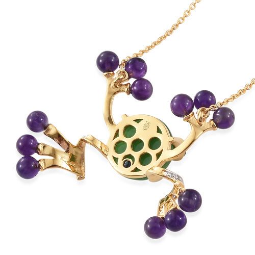 GP Green Jade (Rnd 11.30 Ct), Amethyst, Boi Ploi Black Spinel and Kanchanaburi Blue Sapphire Frog Necklace (Size 18) in Platinum and 14K Gold Overlay Sterling Silver 19.000 Ct, Silver wt 8.90 Gms.