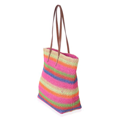 St. Tropez Collection- Fuchsia and Rainbow Colour Stripe Pattern Straw Tote Beach Bag (Size 47x37x34x15.5 Cm)