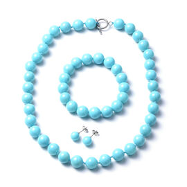 Shell Pearl Necklace (Size 20) Stretchable Bracelet and Stud Earrings in Turquoise Colour