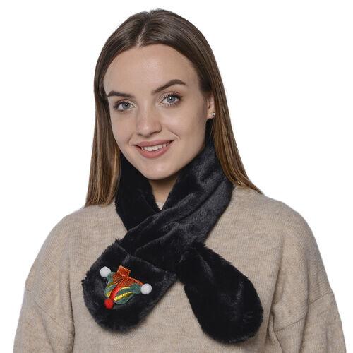 Faux Fur Scarf (Size 10x90cm) - Black