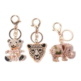 Set of 3 - Multicolour Austrian Crystal Teddy Bear, Leopard Head and Elephant Enamelled Keychain in