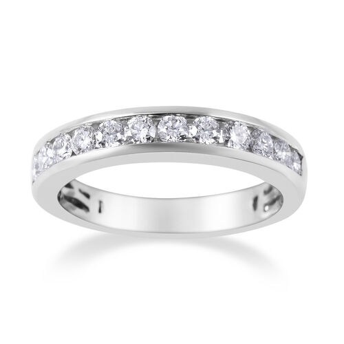 RHAPSODY 950 Platinum IGI Certified Diamond (Rnd) (VS/E-F) Half Eternity Band Ring 0.50 Ct.