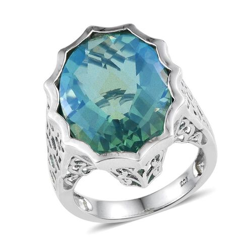 Peacock Quartz (Ovl) Ring in Platinum Overlay Sterling Silver 17.000 Ct.