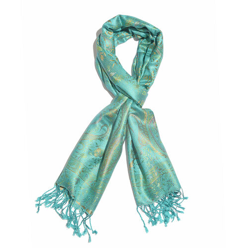 100% Superfine Silk Turquoise Green, Orange and Multi Colour Flower Pattern Jacquard Jamawar Scarf w