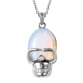 15 Ct Opalite Skull Pendant with Chain in Stainless Steel