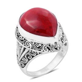 Royal Bali Collection- Sponge Coral (Pear) Filigree Ring in Sterling Silver, Silver wt 5.54 Gms.