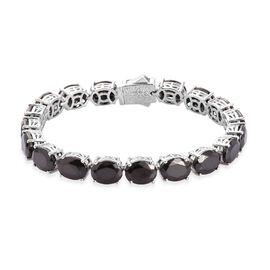 Elite Shungite Tennis Bracelet (Size 7) in Platinum Overlay Sterling Silver 19.70 Ct, Silver wt. 14.