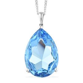 J Francis Crystal from Swarovski - Aquamarine Colour Crystal (Pear 30x20 mm) Pendant With Chain (Siz