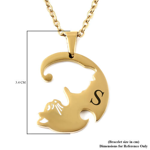 Personalise Engravable Kitty Necklcae, Set of 2, Size 21.5 Inch, Stainless Steel
