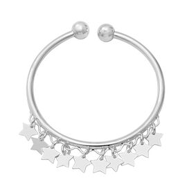 One Time Close Out Deal- Sterling Silver Adjustable Bangle with Star Charms, Silver wt 11.42 Gms