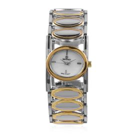 Designer Inspired-STRADA Japanese Movement  Water Resistant Bracelet Watch in Silver and Gold Plated Stainless Steel