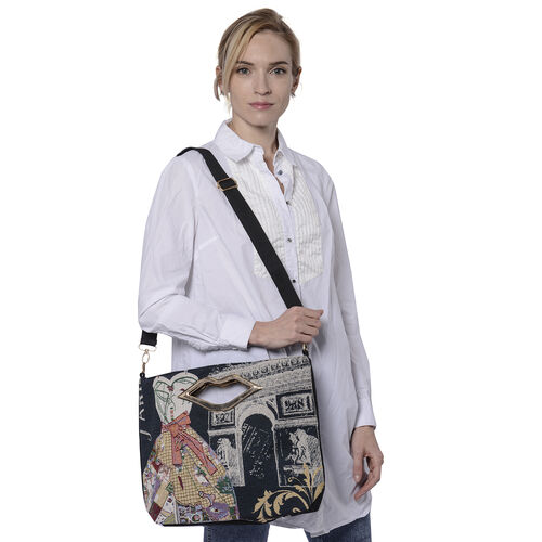 Lady Dress Jacquard Pattern Crossbody Bag with Metallic Lip-Shaped Top Handles in Black