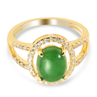Green Jade and Simulated Diamond Halo Ring (Size P) in Yellow Gold Overlay in Sterling Silver 1.55 Ct.