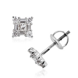 RHAPSODY 0.50 Carat Diamond Cluster Stud Earrings in 950 Platinum 2.2 Grams IGI Certified VS EF