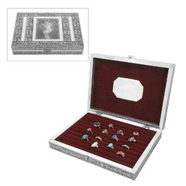 Jewellery Embossed Ring Box with Mirror made of Teak and MDF Wood
