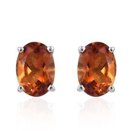 Madeira Citrine (Ovl) Stud Earrings (with Push Back) in Platinum Overlay Sterling Silver 1.250 Ct.