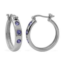1 Carat Tanzanite Hoop Earrings in Rhodium Plated Silver