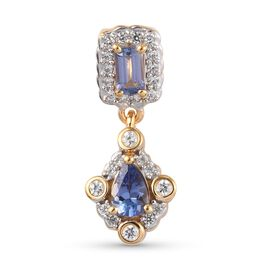Tanzanite and Natural Cambodian Zircon Pendant in 14K Gold Overlay Sterling Silver