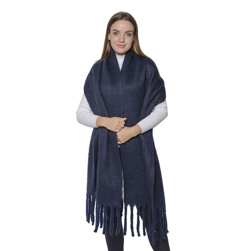 Soft and Lightweight Scarf with Small Fringes (Size 45x210+20cm) - Navy