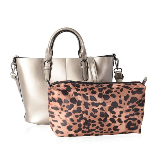 Set of 2 - 100% Genuine Leather Metallic Silver Colour Tote Bag (Size 36x30x23.5x12.5 Cm) and Leopard Pattern Pouch (Size 28x19x10 Cm)