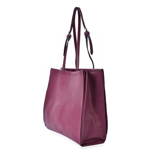 YUAN COLLECTION Burgundy Carryall Tote Bag (Size 33.5x29x11 Cm)