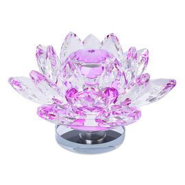 Home Decor -AAA Purple Austrian Crystal and Faceted Glass Rotating Lotus Flower (Size 13x7 Cm)