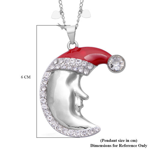White Austrian Crystal Moon in Christmas Hat Enamelled Pendant With Chain in Silver Tone