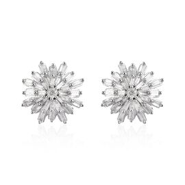 9K White Gold Diamond Stud Earrings (with Push Back) 0.50 Ct.