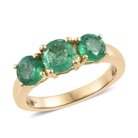 ILIANA 1.75 Ct AAA Zambian Emerald 3 Stone Ring in 18K Gold 3.98 Grams