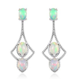 Ethiopian Welo Opal (Ovl) Earrings (with Push Back) in Platinum Overlay Sterling Silver 2.000 Ct.
