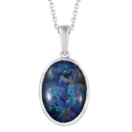 One Time Deal - Extremely Rare Size Australian Boulder Opal (Ovl 18x13 mm) Solitaire Pendant with Chain (Size 18) in Platinum Overlay Sterling Silver