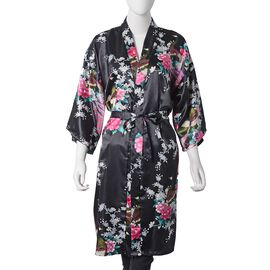 Black and Multi Colour Kimono with Peacock and Peony Pattern (Size 100x65 Cm)