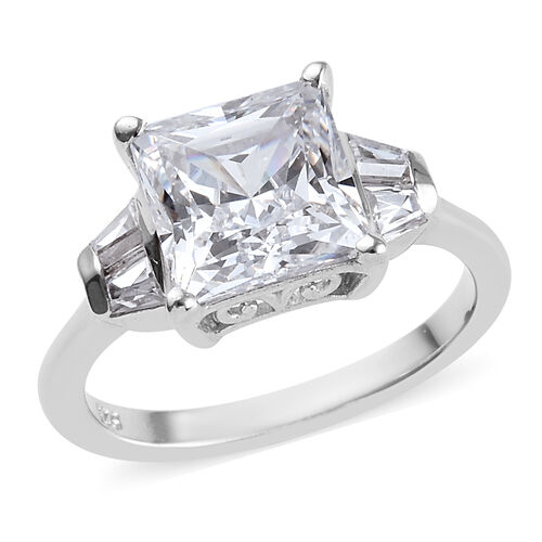 J Francis Made with SWAROVSKI ZIRCONIA Classic Ring in Platinum Plated Silver