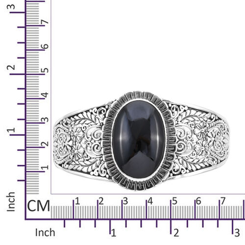 Royal Bali Collection - Boi Ploi Black Spinel (Ovl 30x20mm) Bangle (Size 7.25) in Sterling Silver 43.00 Ct, Silver wt 31.65 Gms