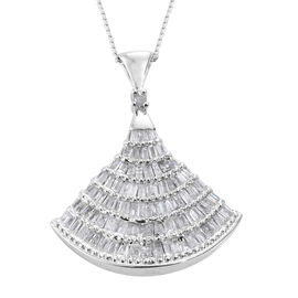 Designer Inspired - Diamond Ballerina Pendant with Chain in Platinum Overlay Sterling Silver 1.150 C