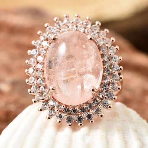 Limited Available- Marropino Morganite (Ovl 10.00 Ct), Natural Cambodian Zircon Ring in Rose Gold Overlay Sterling Silver 11.500 Ct, Silver wt 6.19 Gms.
