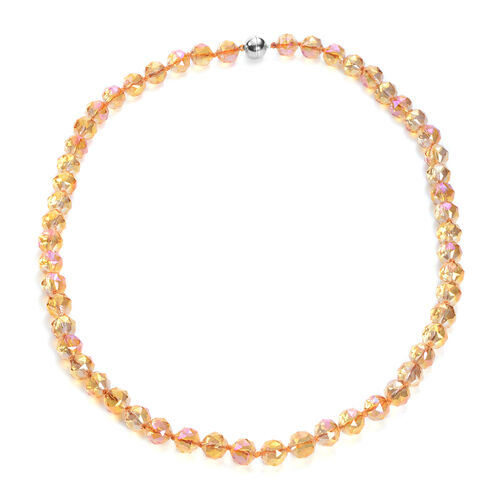 Monster Deal - Simulated Champagne Crystal Beaded Neckalce with Magnetic Lock in Stainless Steel
