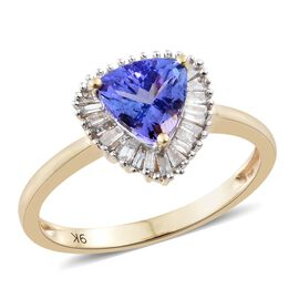 9K Yellow Gold AA Tanzanite (Trl 1.40 Ct), Diamond Ring 1.650 Ct.