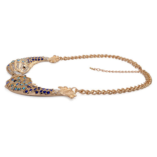 Simulated White Diamond, Blue and Multi Colour Austrian Crystal Fish Shape Necklace (Size 20) in Gold Tone