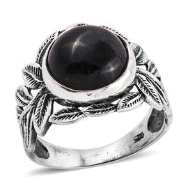 Royal Bali Collection Black Jade (Rnd 12 mm) Ring in Sterling Silver  8.310 Ct.