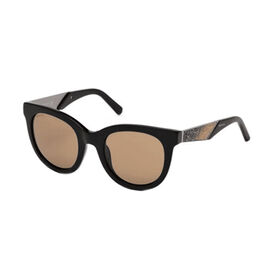 SWAROVSKI Womens Square Sunglasses With Brown Lenses And Swarovski Crystal Encrusted Temples