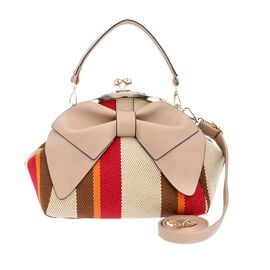 Bowknot and Stripe Pattern Satchel Bag with Kiss Lock and Detachable Shoulder Strap (Size 26x20x24 C