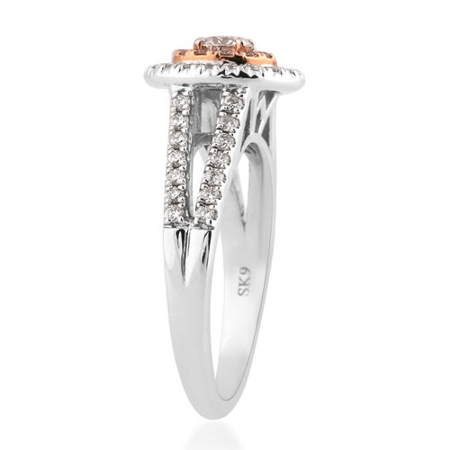 14K White and Yellow Gold Natural Pink Diamond and White Diamond (I1-I2/G-H) Ring 0.75 Ct, Gold wt 4.70 Gms