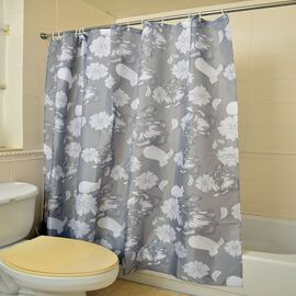 Grey and White Colour Floral Pattern Water Proof Shower Curtain (Size 180X180 Cm) with 12 Plastic Hooks