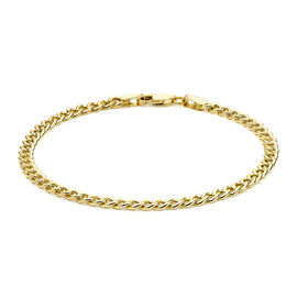 9K Yellow Gold Hollow Curb Bangle (Size 7.25)