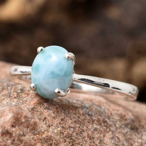 One Time Deal-  Larimar (Ovl 9x7mm) Solitaire Ring in Sterling Silver 2.000 Ct.