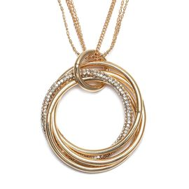 White Austrian Crystal Entwined Circles Pendant with Chain (Size 29 with 2 inch Extender) in Yellow
