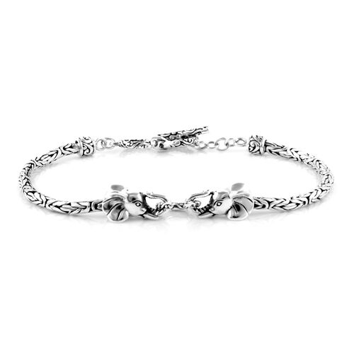 Royal Bali Collection- Sterling Silver Elephant Bracelet (Size 7.50 with Half inch Extender), Silver wt 9.90 Gms.