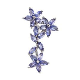 2.50 Ct Tanzanite Floral Pendant in Platinum Plated Silver
